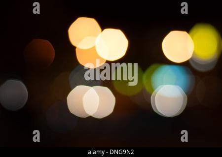Big Bokeh lights of a night city. - Stock Photo
