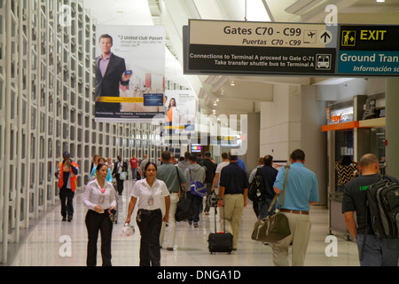 New Jersey Newark Newark Liberty International Airport EWR terminal concourse gate area sign information connecting - Stock Photo