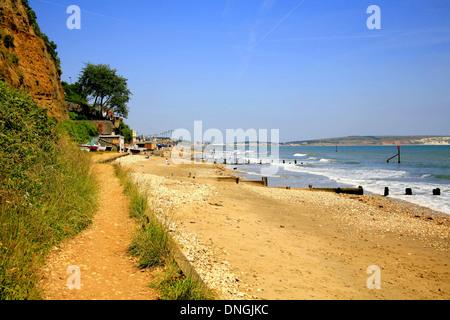 Sandown bay from shanklin beach, Shanklin, Isle of Wight, England, UK. - Stock Photo