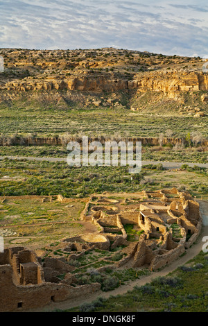 Pueblo Bonito and sandstone bluffs, Chaco Culture National Historical Park, New Mexico USA - Stock Photo