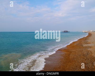 Brighton West Pier in the azure sea ocean English Channel