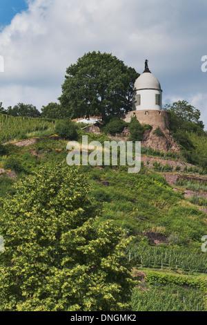 The Jacobstein is a vineyard gazebo in Radebeul near Dresden, Saxony, Germany, Europe - Stock Photo