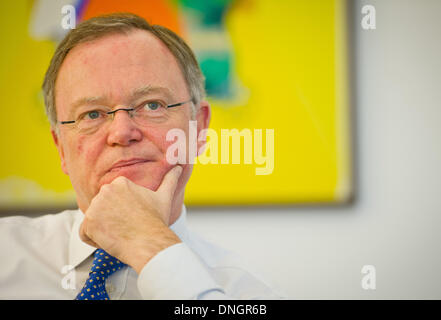 Hanover, Germany. 17th Dec, 2013. Lower Saxony's premier Stephan Weil answers questions in an interview in his office - Stock Photo