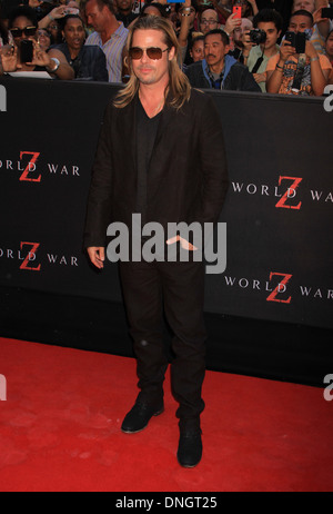 Actor Brad Pitt attends the 'World War Z' premiere in Times Square. - Stock Photo