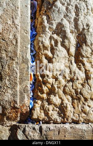 Rocks of the Wailing wall close up in Jerusalem, Israel - Stock Photo