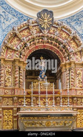 side altar in the cathedral of faro also called _igreja de santa maria_, faro, algarve, portugal - Stock Photo