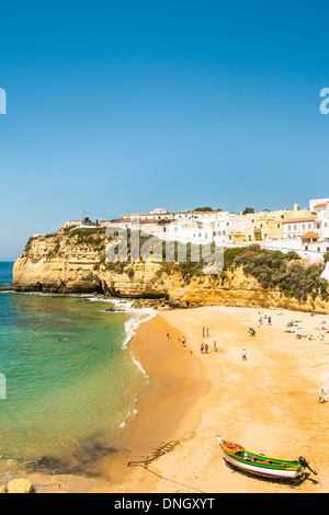people at the main beach of carvoeiro, algarve, portugal - Stock Photo