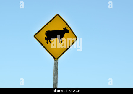 A warning sign alerts motorists to free ranging cattle crossing the road in New Zealand. horizontal