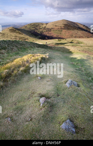 One of the many paths up the Worcestershire Beacon on the Malvern Hills, Worcestershire, in the Spring at sunset - Stock Photo