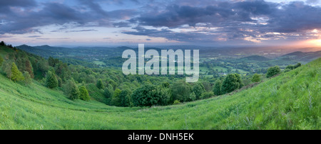 A panorama taken at sunset in the valley between Summer Hill and the Worcestershire Beacon on the Malvern Hills. - Stock Photo