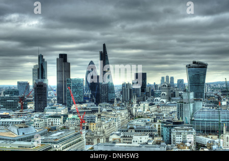 A view of City of London  City of London skyline  skyscrapers city of london - Stock Photo