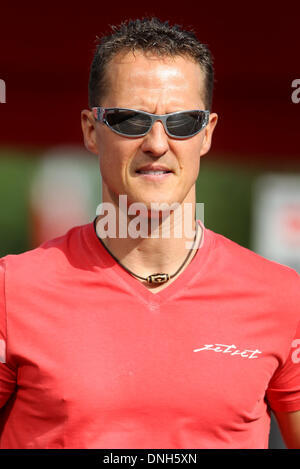 FILE: Barcelona, Spain. 12th May, 2012. German Formula One driver Michael Schumacher of Mercedes AMG arrives at - Stock Photo