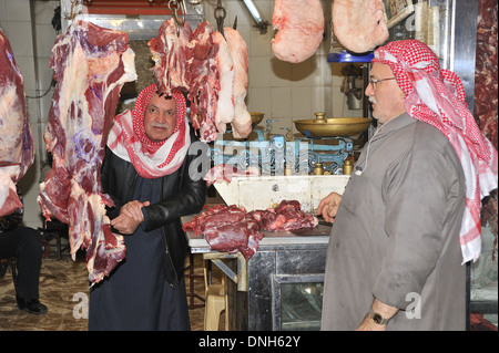 Butcher shop in Aleppo bazaar -souk, Syria. - Stock Photo
