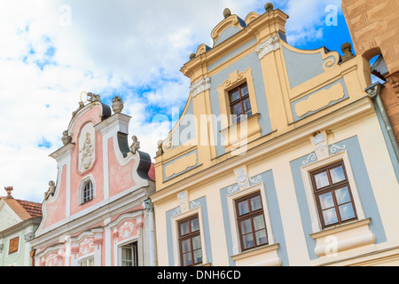 Facade of Renaissance houses in Telc, Czech Republic (a UNESCO world heritage site) - Stock Photo