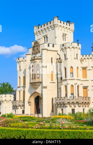 Hluboka nad Vltavou (in German Frauenberg) palace, Czech Republic - Stock Photo