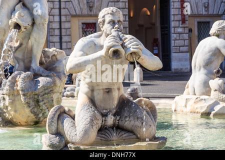 Rome, Fontana del Moro (Moor Fountain) on Piazza Navona, Italy - Stock Photo
