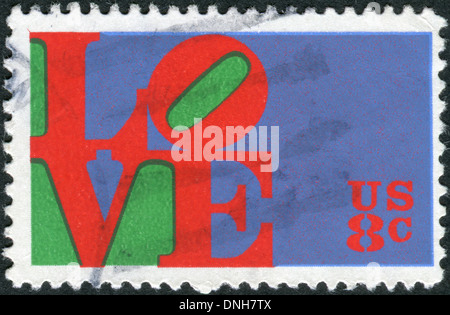 USA - CIRCA 1973: Postage stamp printed in USA, shows the word 'Love,' by Robert Indiana, circa 1973 - Stock Photo