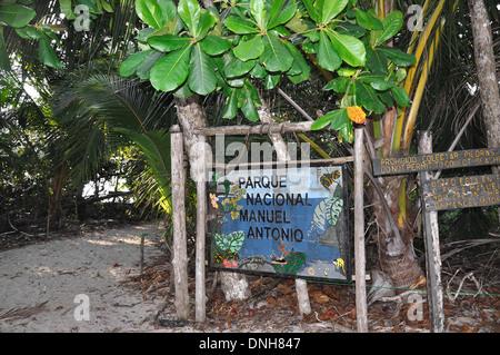Park sign in Manuel Antonio National Park - Stock Photo