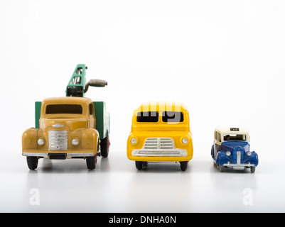 Meccano / Dublo Dinky diecast Cars. Recovery Truck / Bedford Van / Austin Taxi - Stock Photo