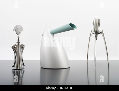 Anna G. Corkscrew, HOT BERTAA / Water Kettle, Alessi Juicy Salif Citrus Squeezer  Designed by Philippe Starck for - Stock Photo