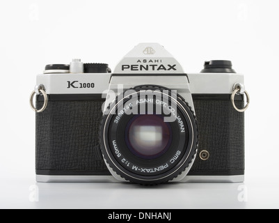Asahi Pentax K1000 35mm SLR film camera. 1976 Made in Japan Asahi Optical Co., Ltd. - Stock Photo