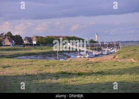 PORT OF LE HOURDEL, BAY OF SOMME, CAYEUX-SUR-MER, SOMME, PICARDY, FRANCE - Stock Photo