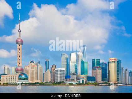 shanghai skyline with the world financial center and oriental pearl buildings the Pudong PRC, People's Republic - Stock Photo