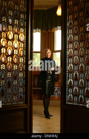 NATHALIE VRANKEN IN THE VILLA DEMOISELLE, REIMS, MARNE (51), CHAMPAGNE-ARDENNE, FRANCE - Stock Photo