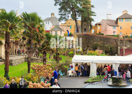 Marquees for stalls at Christmas Food and Craft Fair in central Plaza in Italian style village of Portmeirion Gwynedd - Stock Photo