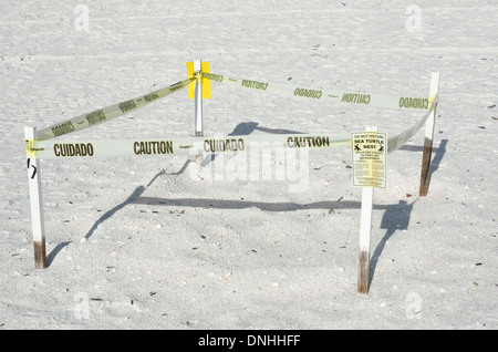 Sea turtle nesting spot on Marco Island, Florida - Stock Photo