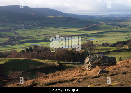 View along the Coquet valley near Rothbury, Northumberland, England UK - Stock Photo