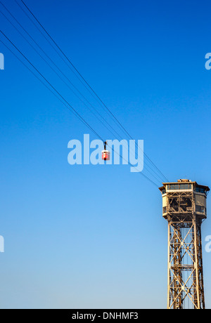 Low angle view of overhead cable car, Barcelona, Catalonia, Spain - Stock Photo