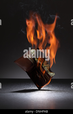 A brown leather wallet filled with credit cards and money on fire. - Stock Photo