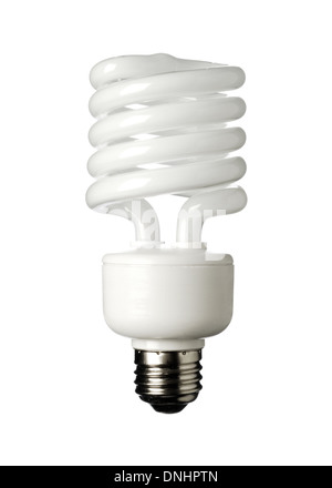 An energy savings light bulb on a white background. Compact Fluorescent light bulb CFL - Stock Photo