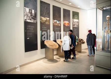 Interior of the Stonehenge Visitor centre Wiltshire UK Opened in December 2013 - Stock Photo