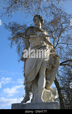 Statue of Julius Caesar by Nicolas Coustou (1722), Jardin des Tuileries, Paris, France - Stock Photo