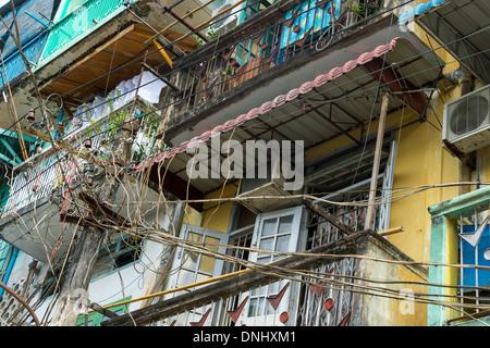 YANGON, MYANMAR - CIRCA DECEMBER 2013: View of electric post in the streets of Yangon - Stock Photo
