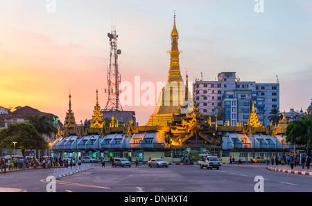 YANGON, MYANMAR - CIRCA DECEMBER 2013: View of the Maha Bandula Road and the Sule Pagoda in Yangon. - Stock Photo