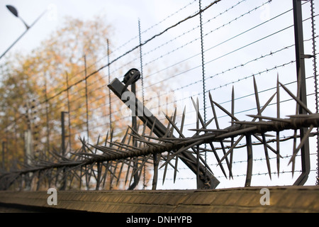 Security Perimeter Fence With Sharp Spikes And Barbed Wire
