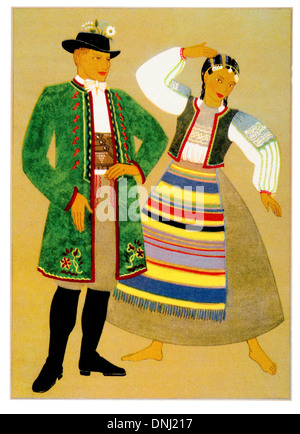 Poland Traditional costume early 20th century lithograph - Stock Photo