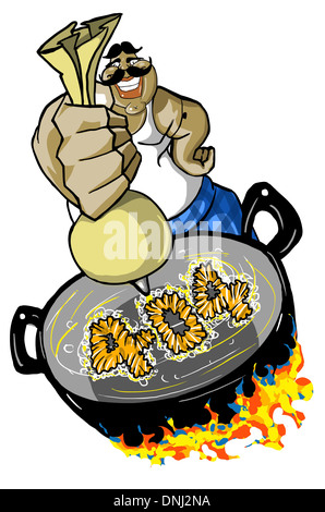 Illustrative representation of a halwai making 404 jalebi - Stock Photo