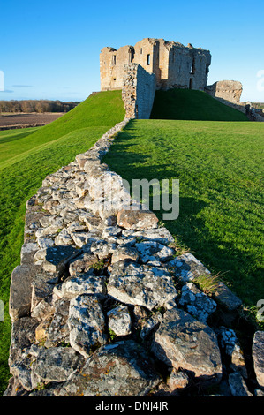 Duffus Castle stone - keep with curtain wall Elgin Morayshire.  SCO 9166. - Stock Photo
