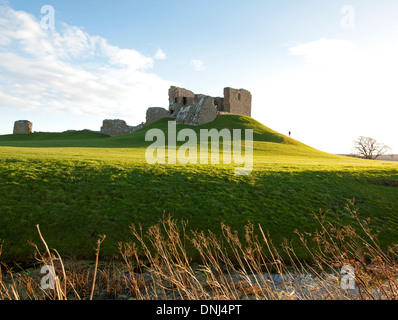 Duffus Castle stone - keep with curtain wall Elgin Morayshire.  SCO 9167. - Stock Photo