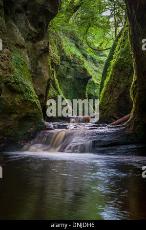 The gorge at Finnich Glen, also known as Devils Pulpit near Killearn Scotland - Stock Photo