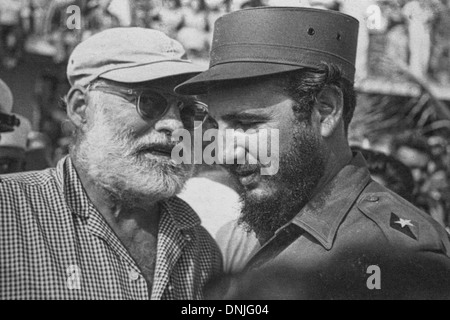EMBLEMATIC PHOTO OF ERNEST HEMINGWAY (1899-1961), AMERICAN WRITER AND JOURNALIST, AND FIDEL CASTRO, ONE OF THE LEADERS - Stock Photo
