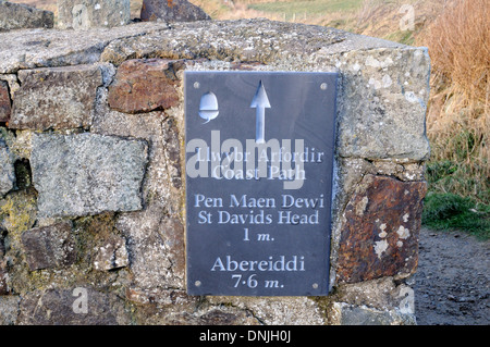 Welsh slate Coast Path sign from St Davids head to Abereiddi Whitesands St Davids Pembrokeshire Wales Cymru UK GB - Stock Photo