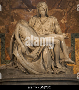 The Piety, sculpture of Michelangelo. St Peter's Basilica. Vatican City. Rome. Italy - Stock Photo