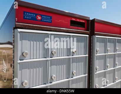 A Canada Post super mailbox in a new suburban housing development, Calgary, Alberta. - Stock Photo