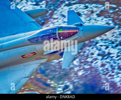 RAF, typhoon,f2, Eurofighter, FGR4, multi-role,    combat, aircraft, speed, fast, mach loop,  low level, north wales, - Stock Photo
