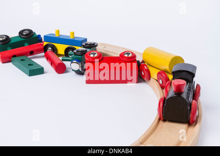 derail wooden toy train in top view. horizontal image - Stock Photo